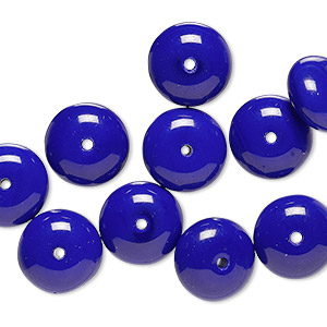bead, vintage german pressed glass, opaque royal purple, 11x6mm-12x7mm rondelle. sold per pkg of 10.