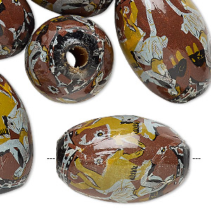 bead, vintage german wood (coated) and paper, brown and multicolored, 29x20mm oval with person riding a lion design. sold per pkg of 6.