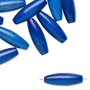 bead, vintage german wood (dyed / coated), blue, 20x7mm oval. sold per pkg of 24.