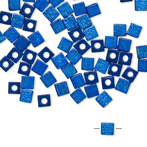 bead, vintage german wood (dyed / coated), blue, 4x4mm cube. sold per pkg of 100.