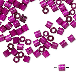 bead, vintage german wood (dyed / coated), purple, 4x4mm round tube. sold per pkg of 100.