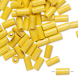 bead, vintage german wood (dyed / coated), sun yellow, 8x4mm round tube. sold per pkg of 100.
