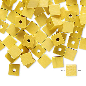 bead, vintage german wood (dyed / coated), yellow, 6x6mm cube. sold per pkg of 100.