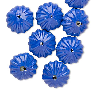 bead, vintage japanese acrylic, opaque indigo, 14x8mm fluted rondelle. sold per pkg of 10.