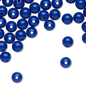 bead, vintage japanese acrylic, royal blue, 5-6mm round. sold per pkg of 65.