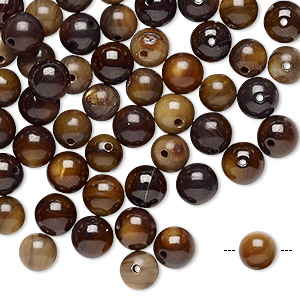 bead, vintage japanese mother-of-pearl shell (dyed), light brown and dark brown, 6-7mm round, mohs hardness 3-1/2. sold per pkg of 100.