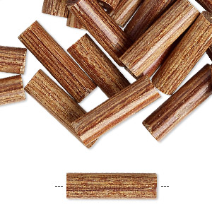 bead, vintage japanese wood (coated), 20x6mm round tube. sold per pkg of 24.