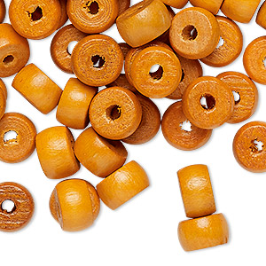 bead, vintage japanese wood (dyed / coated), orange, 9x6mm rondelle with 2.5mm hole. sold per pkg of 100.