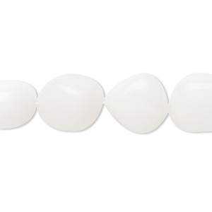 bead, white agate (natural), medium tumbled nugget, mohs hardness 6-1/2 to 7. sold per 16-inch strand.