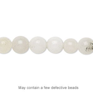 bead, white malaysia jade (natural), 7-8mm round, d grade, mohs hardness 7. sold per 15-inch strand.