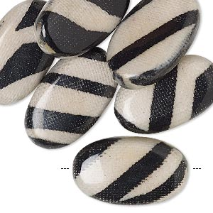 bead, wood / cotton / acrylic, black and cream, 24x14mm double-sided flat oval with zebra stripe pattern. sold per pkg of 8.