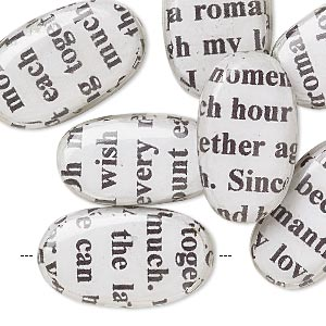 bead, wood / newspaper / acrylic, white and black, 24x14mm double-sided flat oval with phrase in english. sold per pkg of 8.