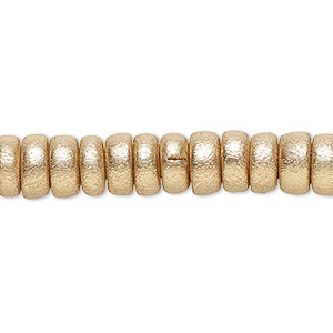 bead, wood (coated / waxed), metallic gold, 8x4mm rondelle. sold per pkg of (2) 16-inch strands.