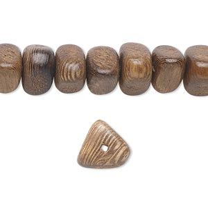 bead, wood (coated), 10x10x9mm triangle. sold per 16-inch strand.