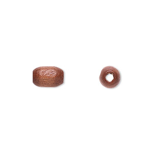 bead, wood (coated), brown, 9x6mm hand-cut oval. sold per pkg of 450-500.