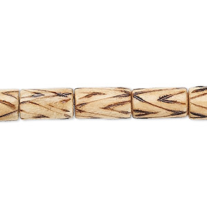 bead, wood (coated), burnt, 12x7mm barrel with triangle line pattern. sold per 16-inch strand.
