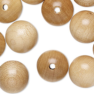 bead, wood (coated), natural, 16mm round with 2.5mm hole. sold per pkg of 24.