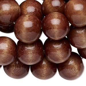 bead, wood (dyed / coated), dark brown, 13-14mm round. sold per 52-inch strand.