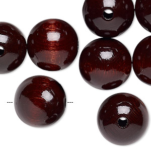bead, wood (dyed / coated), dark brown, 16mm round with 2.5-3mm hole. sold per pkg of 24.