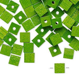 bead, wood (dyed / coated), green, 6x6mm cube. sold per pkg of 100.
