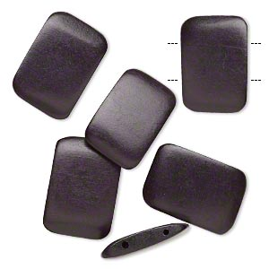 bead, wood (dyed / waxed), black, 30x20mm double-drilled flat rectangle. sold per pkg of 6.