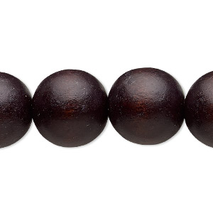 bead, wood (dyed / waxed), chocolate brown, 15-16mm round with 2-2.5mm hole. sold per 16-inch strand.