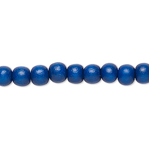 bead, wood (dyed / waxed), dark blue, 5-6mm round with 0.5-2mm hole. sold per pkg of (2) 16-inch strands.
