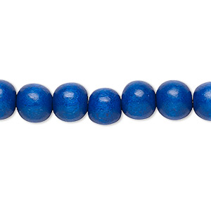bead, wood (dyed / waxed), dark blue, 7-8mm round. sold per pkg of (2) 16-inch strands.