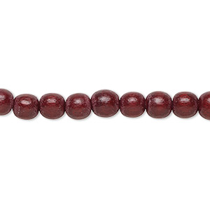 bead, wood (dyed / waxed), dark brown, 5-6mm round with 0.5-2mm hole. sold per pkg of (2) 16-inch strands.