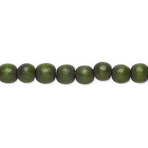 bead, wood (dyed / waxed), dark forest green, 5-6mm round with 0.5-2mm hole. sold per pkg of (2) 16-inch strands.