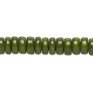 bead, wood (dyed / waxed), dark forest green, 8x4mm rondelle. sold per pkg of (2) 16-inch strands.