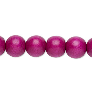 bead, wood (dyed / waxed), dark purple, 9-10mm round with 2-2.5mm hole. sold per pkg of (2) 16-inch strands.