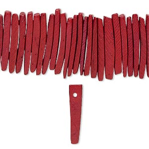 bead, wood (dyed / waxed), dark red, 25x4mm hand-cut top-drilled stick. sold per 16-inch strand.