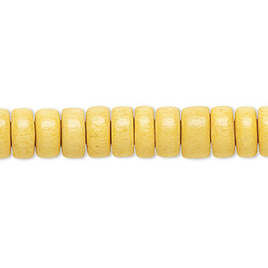 bead, wood (dyed / waxed), dark yellow, 8x4mm rondelle. sold per pkg of (2) 16-inch strands.