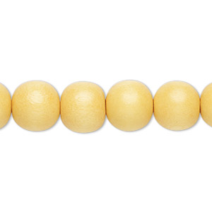 bead, wood (dyed / waxed), dark yellow, 9-10mm round with 2-2.5mm hole. sold per pkg of (2) 16-inch strands.