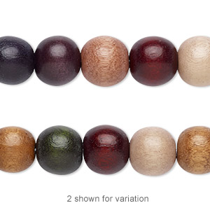 bead, wood (dyed / waxed), earth tones, 9-10mm round with 2-2.5mm hole. sold per pkg of (2) 16-inch strands.