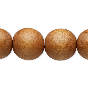 bead, wood (dyed / waxed), light brown, 15-16mm round with 2-2.5mm hole. sold per 16-inch strand.