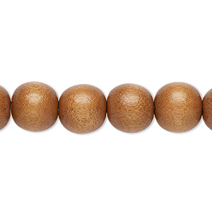 bead, wood (dyed / waxed), light brown, 9-10mm round with 2-2.5mm hole. sold per pkg of (2) 16-inch strands.