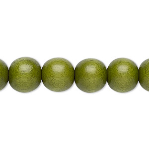bead, wood (dyed / waxed), light forest green, 9-10mm round with 2-2.5mm hole. sold per pkg of (2) 16-inch strands.