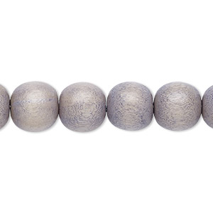 bead, wood (dyed / waxed), light grey, 9-10mm round with 2-2.5mm hole. sold per pkg of (2) 16-inch strands.