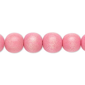 bead, wood (dyed / waxed), light pink, 9-10mm round with 2-2.5mm hole. sold per pkg of (2) 16-inch strands.