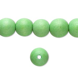 bead, wood (dyed / waxed), lime green, 10mm round with 1.4-2.5mm hole. sold per 16-inch strand.