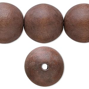 bead, wood (dyed / waxed), mocha brown, 20mm round with 2.5-3mm hole. sold per 16-inch strand.
