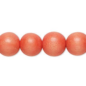 bead, wood (dyed / waxed), orange, 11-12mm round with 1.5-3mm hole. sold per pkg of (2) 16-inch strands.