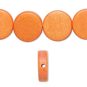 bead, wood (dyed / waxed), orange, 15mm flat round. sold per 16-inch strand.