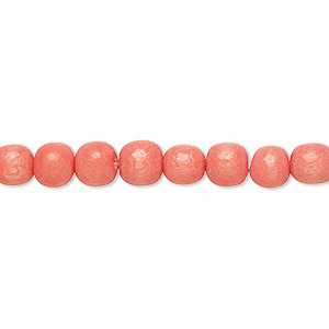 bead, wood (dyed / waxed), orange, 5-6mm round with 0.5-2mm hole. sold per pkg of (2) 16-inch strands.