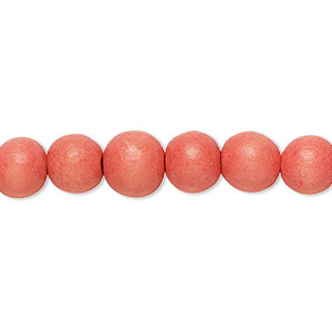 bead, wood (dyed / waxed), orange, 7-8mm round. sold per pkg of (2) 16-inch strands.