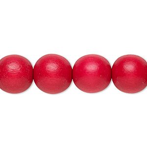 bead, wood (dyed / waxed), red, 11-12mm round with 1.5-3mm hole. sold per pkg of (2) 16-inch strands.
