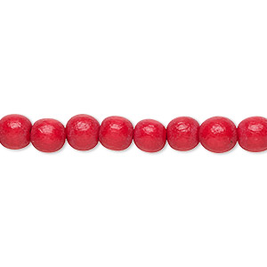 bead, wood (dyed / waxed), red, 5-6mm round with 0.5-2mm hole. sold per pkg of (2) 16-inch strands.