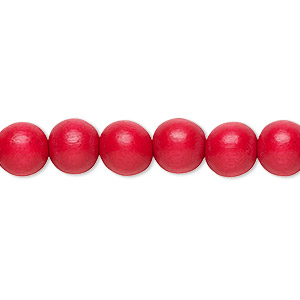 bead, wood (dyed / waxed), red, 7-8mm round. sold per pkg of (2) 16-inch strands.